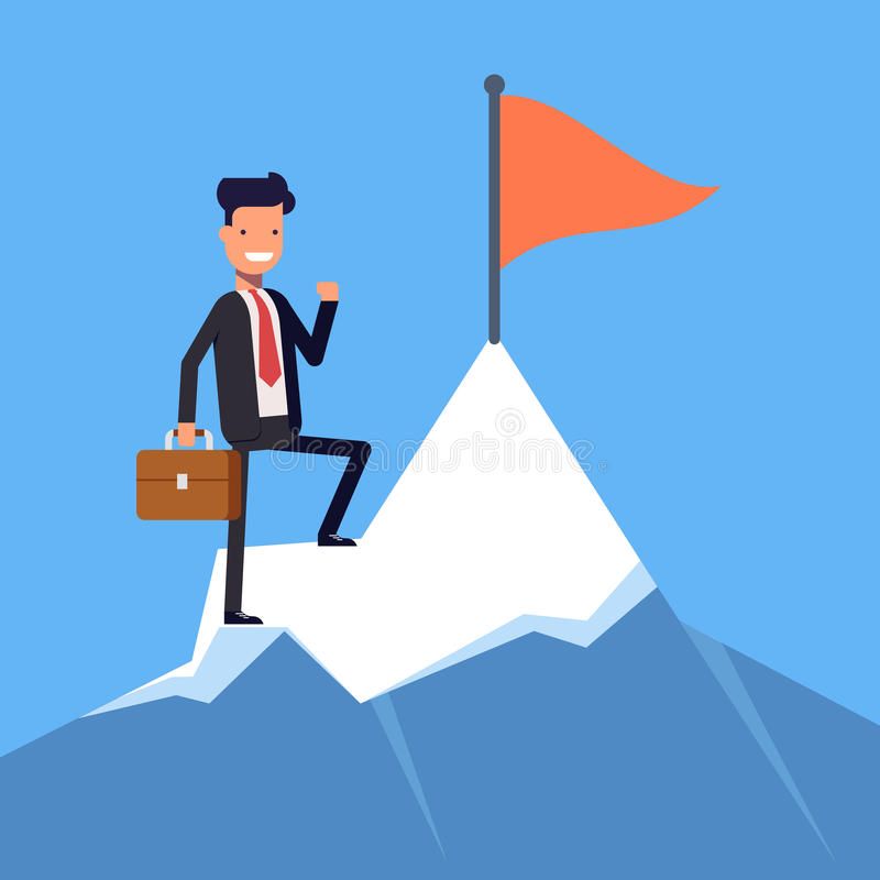 Businessman or manager with flag on a Mountain peak. Office worker, winner on top. Flat character on white stock illustration