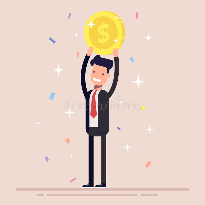 Businessman or manager holds a gold coin over his head. Man in the business suit won the prize. Confetti and tinsel royalty free illustration