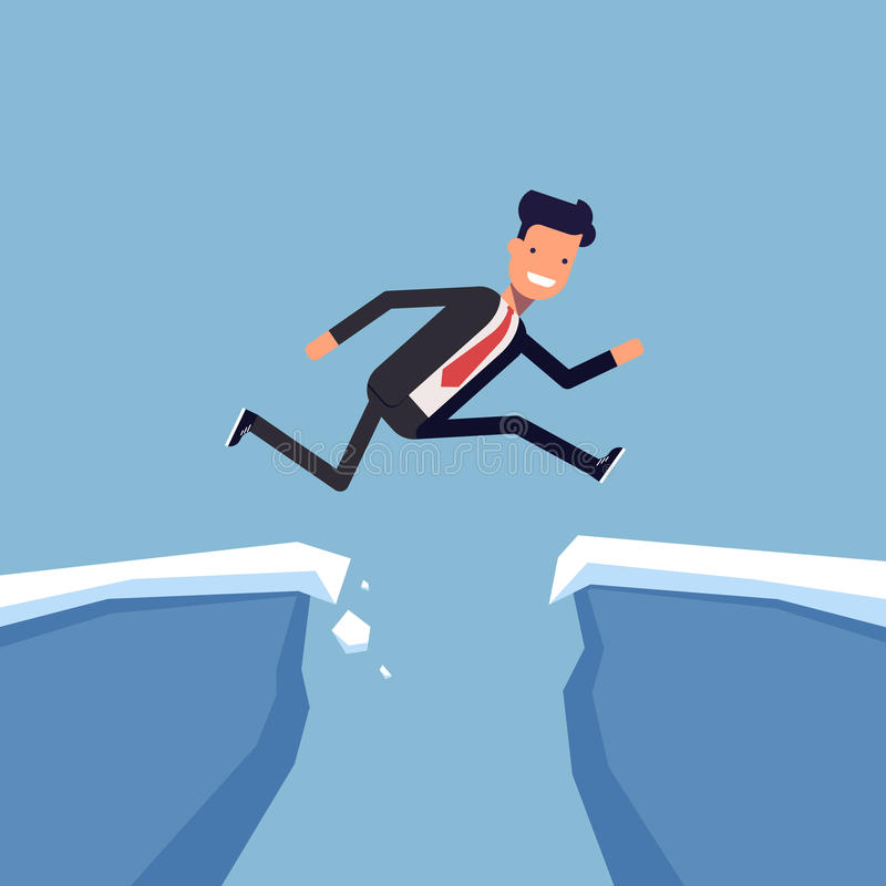 Businessman or manager jumping over a precipice. Overcoming obstacles. Man in business suit is moving towards success. Through difficulties. Vector royalty free illustration