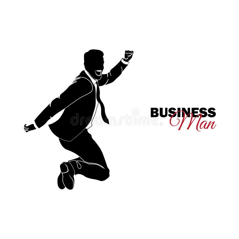 Businessman, Manager. A man in a business suit. Businessman jumping stock illustration