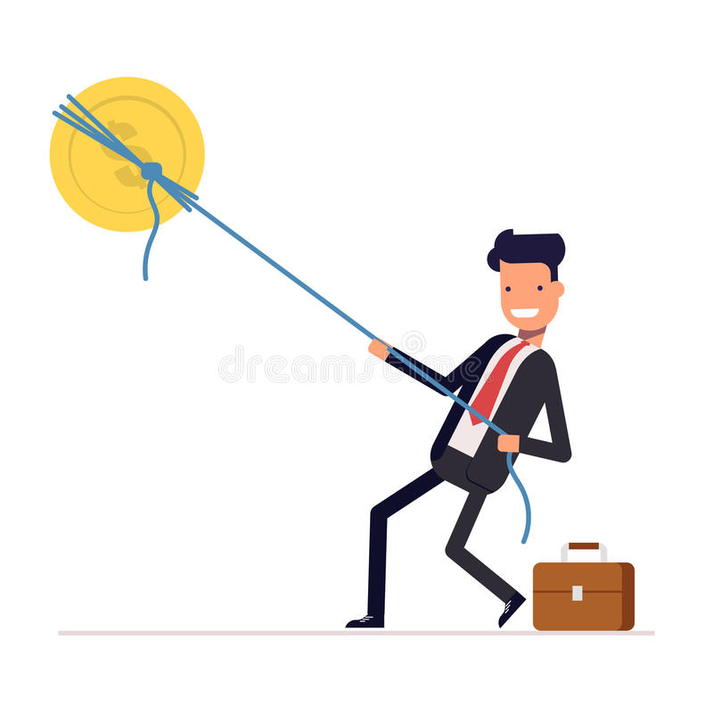 Businessman or manager pulling rope tied to a coin. Money from the sky. Successful people in business suit. Vector royalty free illustration