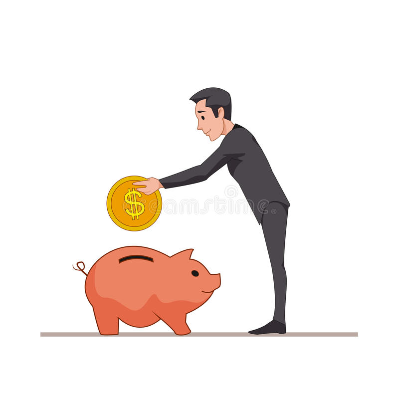 Businessman or manager puts a gold coin into a pink pig piggy bank. Save money. vector illustration
