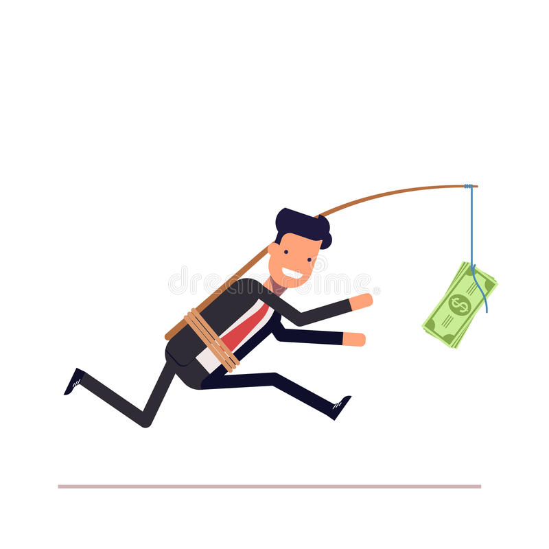 Businessman or manager is running after money. Greedy man in a business suit. With attached rod and dollar. Vector, illustration EPS10 stock illustration