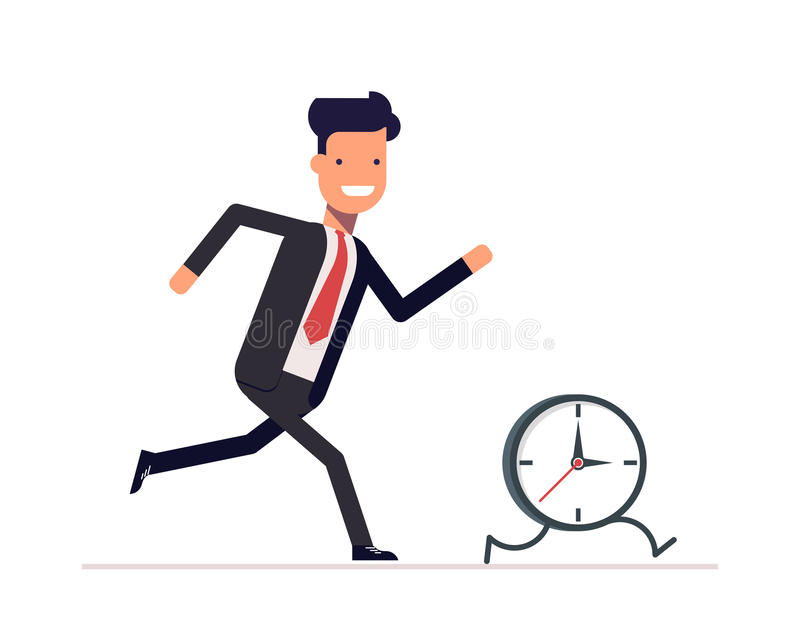 Businessman or manager runs the clock. Man does not keep pace with times. Businessman or manager runs the clock. A man does not keep pace with the times. Trying royalty free illustration