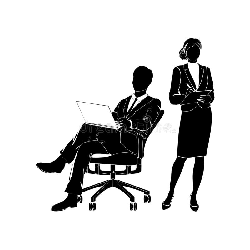 Businessman, manager sits in an office chair with a laptop. Businesswoman holding clipboard and writing. Vector illustration black royalty free illustration
