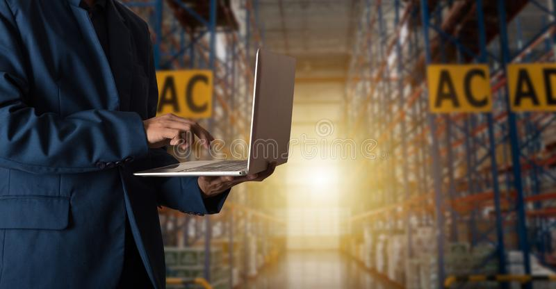 Businessman manager using laptop check orders online goods royalty free stock photos