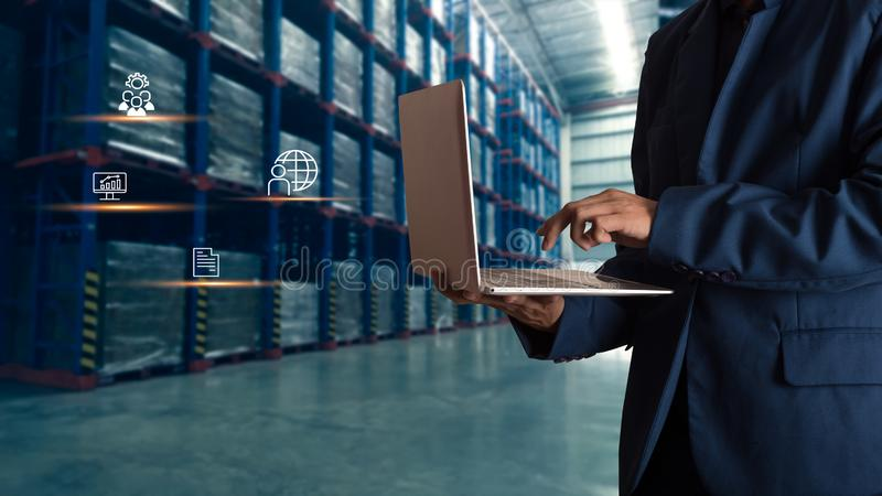 Businessman manager using laptop check orders online stock photos