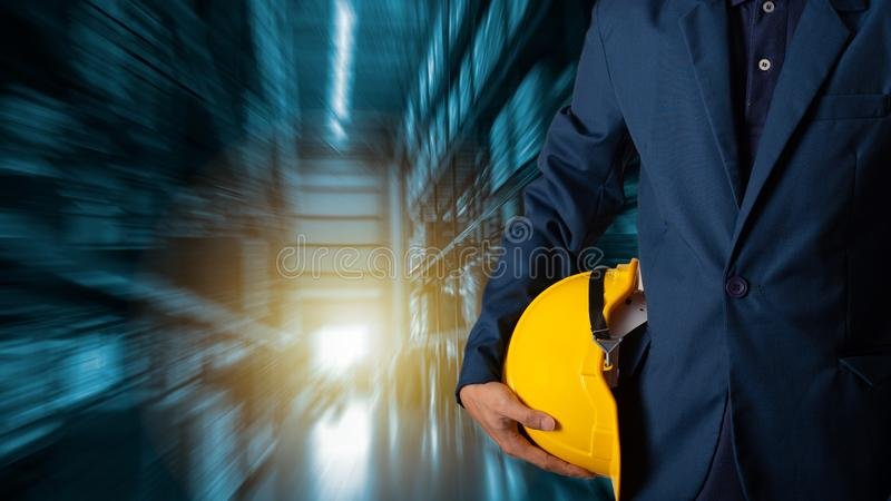 Businessman manager using tablet check and control for workers royalty free stock photo