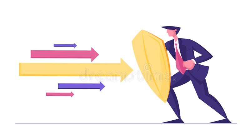 Businessman or Manager Wearing Formal Suit Holding Golden Shield Protecting himself from Huge Multicolored Arrows stock illustration