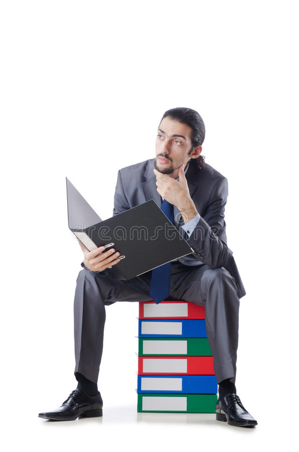 Download Businessman With Many Folders Stock Image - Image: 24759239