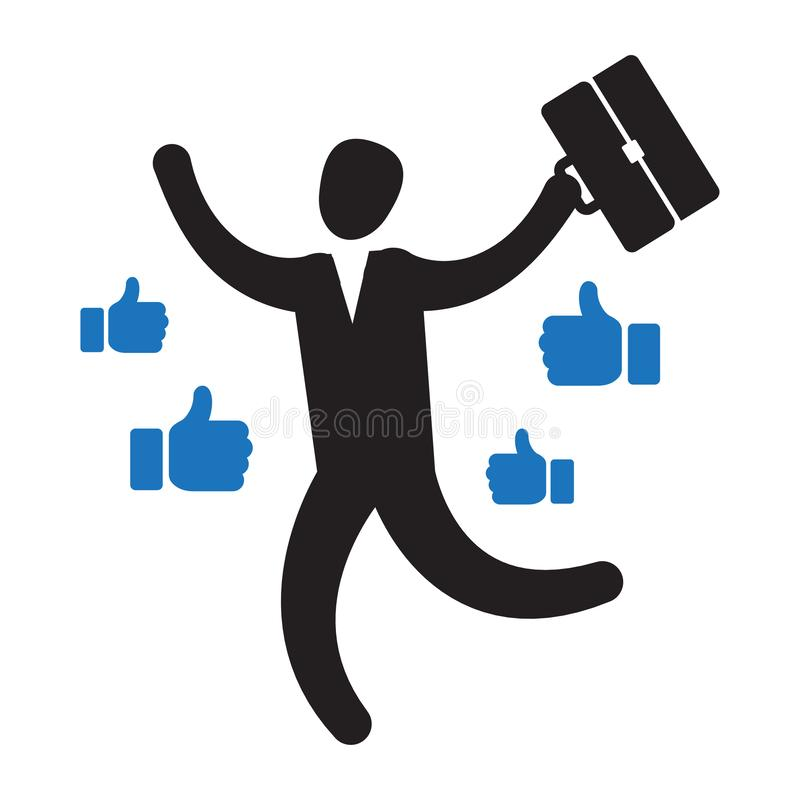 Businessman with many thumbs up hands around him. Business compliment concept. Vector illustration isolated on backgroud royalty free illustration