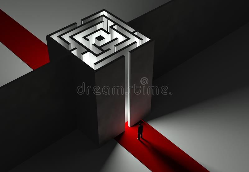 Businessman and Maze, 3d concept. Of problem and task stock illustration