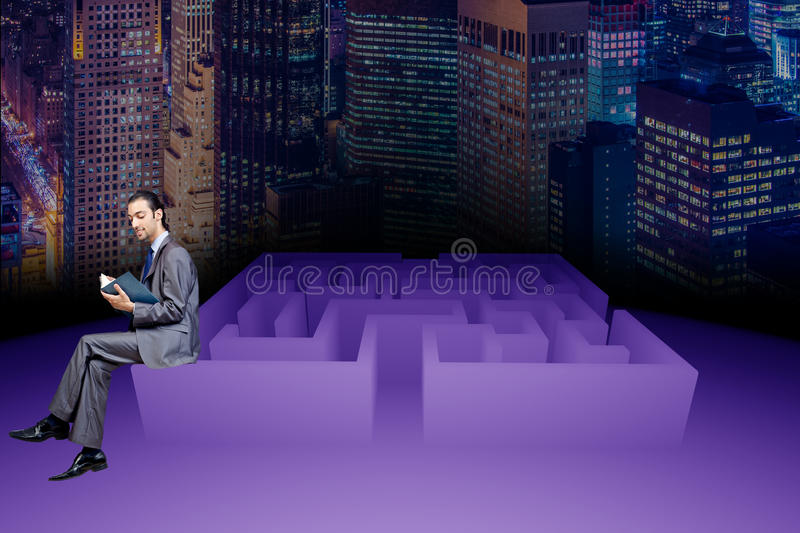 The businessman in maze business concept. Businessman in maze business concept stock images