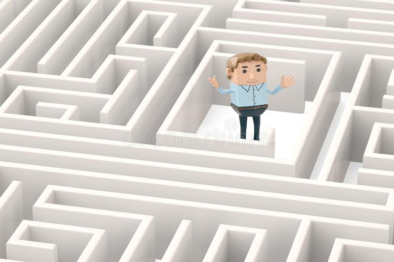 A businessman in the maze.3D illustration. A businessman in the maze. 3D illustration stock illustration
