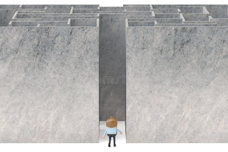 A businessman in the maze entrance.3D illustration. stock illustration