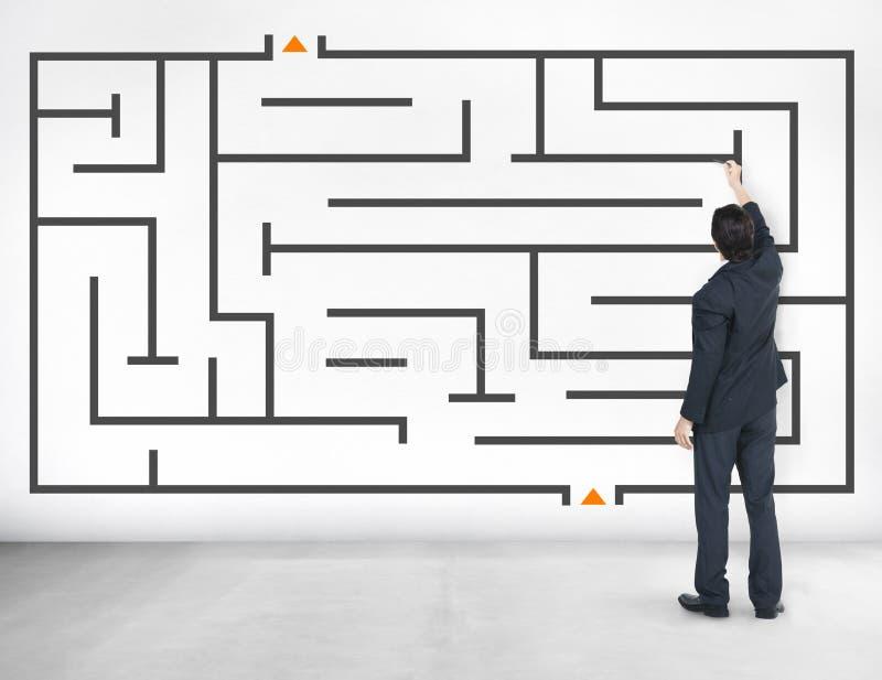 Businessman Maze Problem Solving Solution.  stock photography
