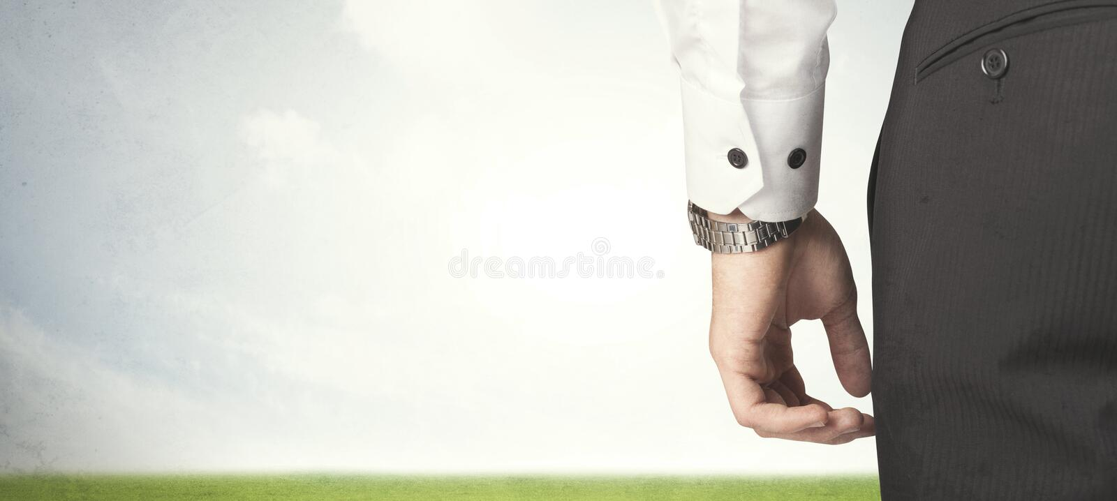 Businessman with meadow stock images