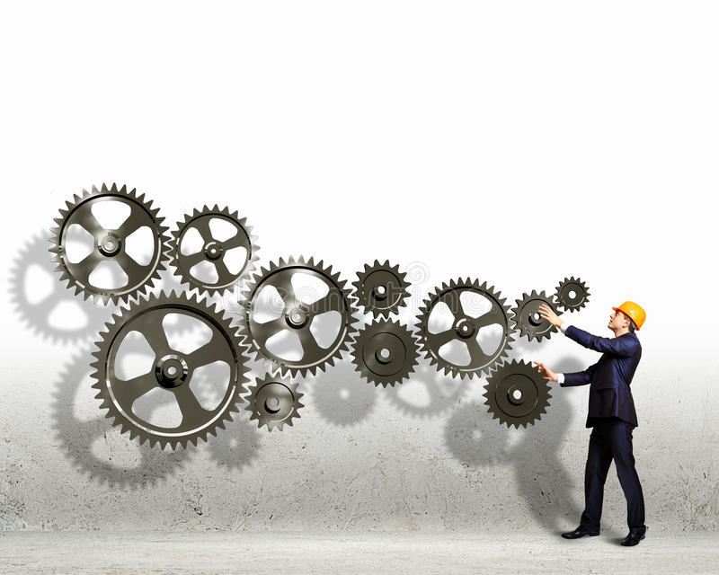 Download Businessman And Mechanism Elements Stock Image - Image: 33194435