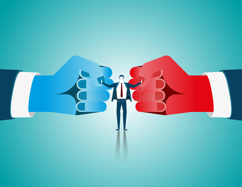 Businessman mediate with lawyer separating two fist glove opposing competitors as an arbitration success. Concept business. Illustration. Vector flat royalty free illustration