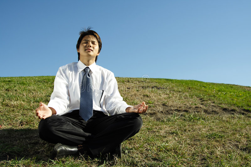 Download Businessman meditating stock photo. Image of grass, relaxing - 1170762