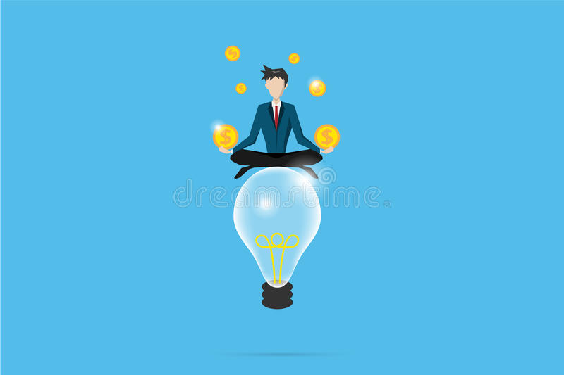 Businessman meditating with coins on lightbulb, idea and business concept royalty free illustration