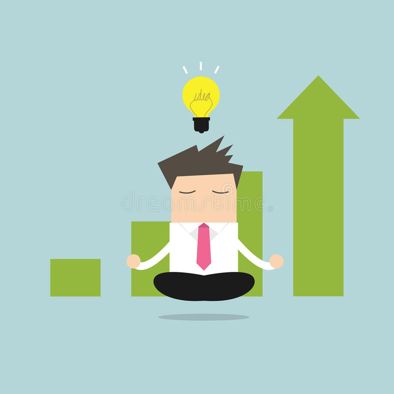 Businessman meditating and ideas that make a business successful. vector illustration