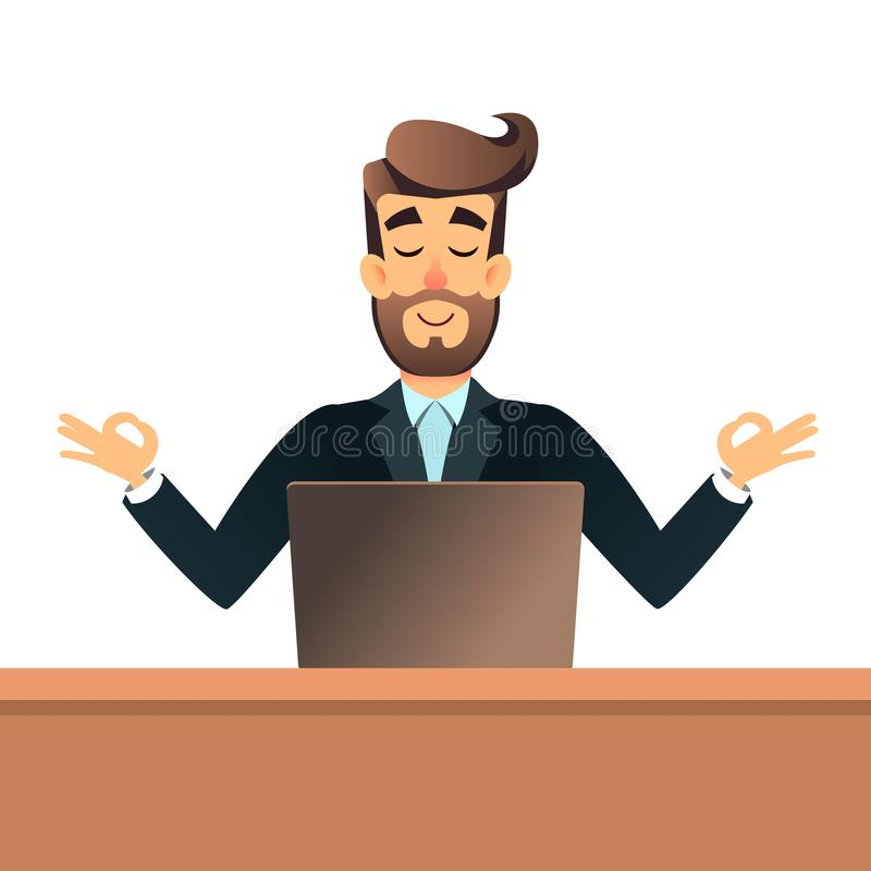 Businessman meditating in lotus pose for table in office with laptop. Business man get calm at workplace. Relax concept royalty free illustration