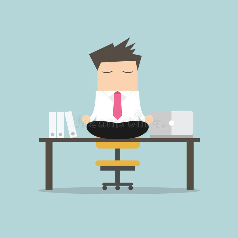 Businessman meditation in office. yoga at job. young man relaxing in lotus position on table with computer at work stock illustration