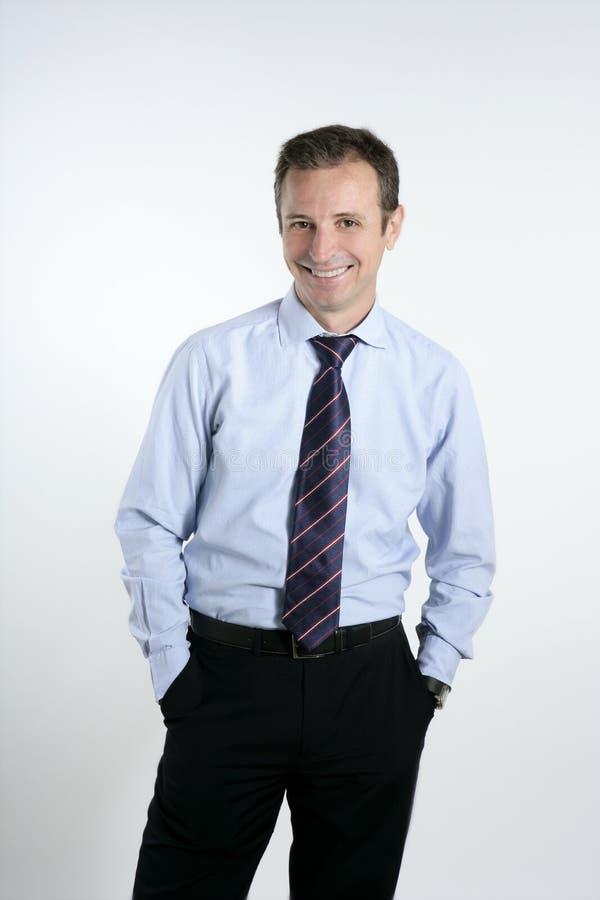 Businessman medium age tie posing stock photo