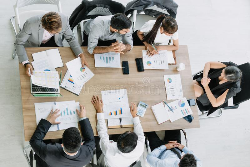 Businessman  meeting with colleague  in the meeting room  office from top view royalty free stock images