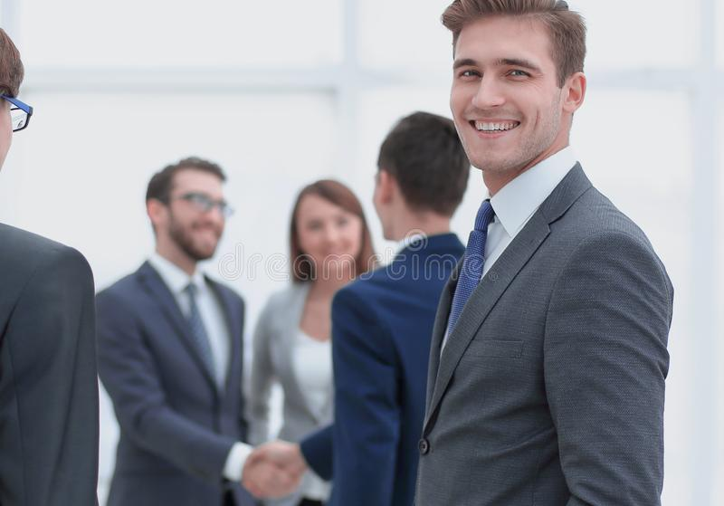 Businessman meets business partners. In office royalty free stock photos