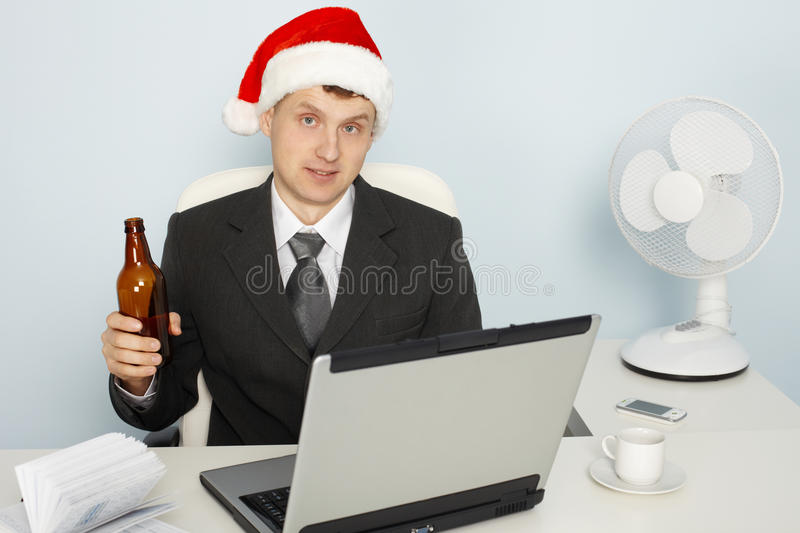 Businessman meets new year still working royalty free stock images