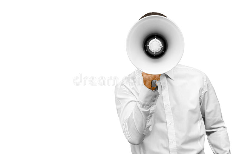 Businessman with megaphone in hand royalty free stock photography