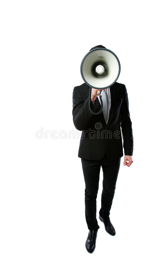 Businessman with megaphone. Isolated on a white background royalty free stock image