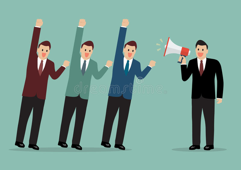 Businessman with a megaphone leading the business stock illustration