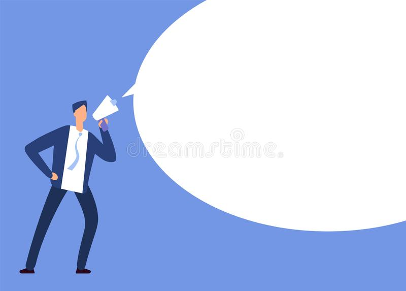 Businessman with megaphone. Man with loudspeaker and blank speech bubble. Announcement vector concept. Illustration of speech bubble, loudspeaker and megaphone stock illustration