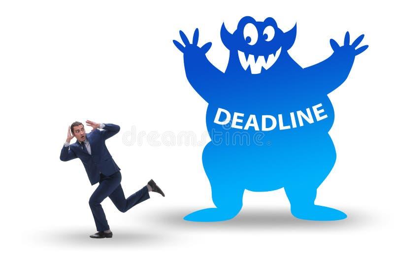 Businessman missing important deadline with monster royalty free illustration