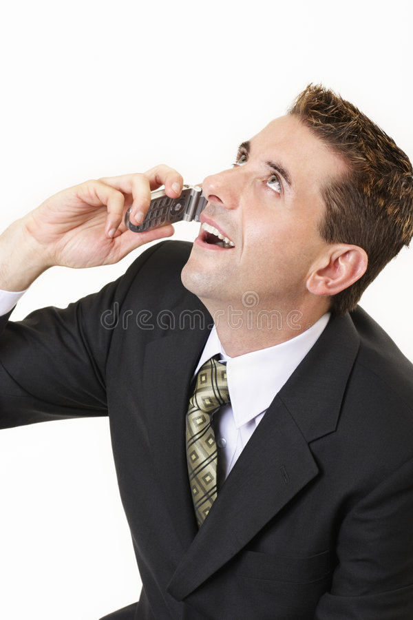 Businessman on mobile 3 royalty free stock images