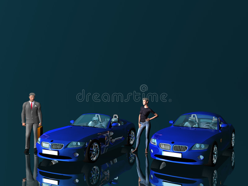 Businessman and model with cars.. royalty free illustration