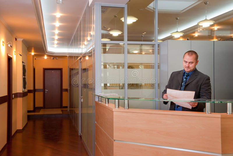 Businessman in the modern office stock images