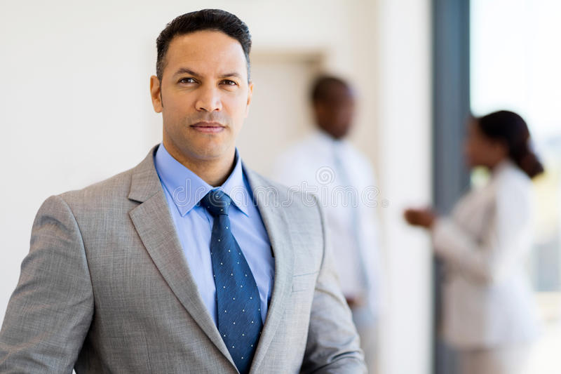 Businessman in modern office. Portrait of successful businessman in modern office royalty free stock photography