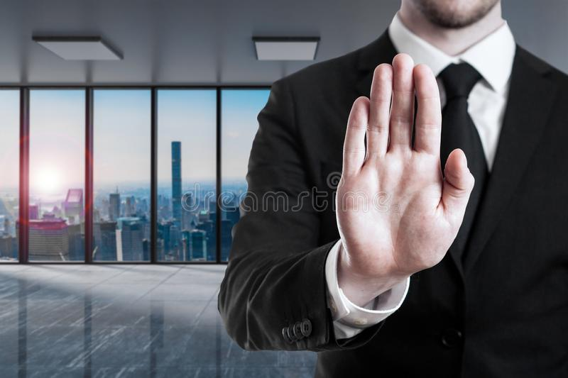 Businessman in modern office stop gesture with his hands - 3D Illustration stock images