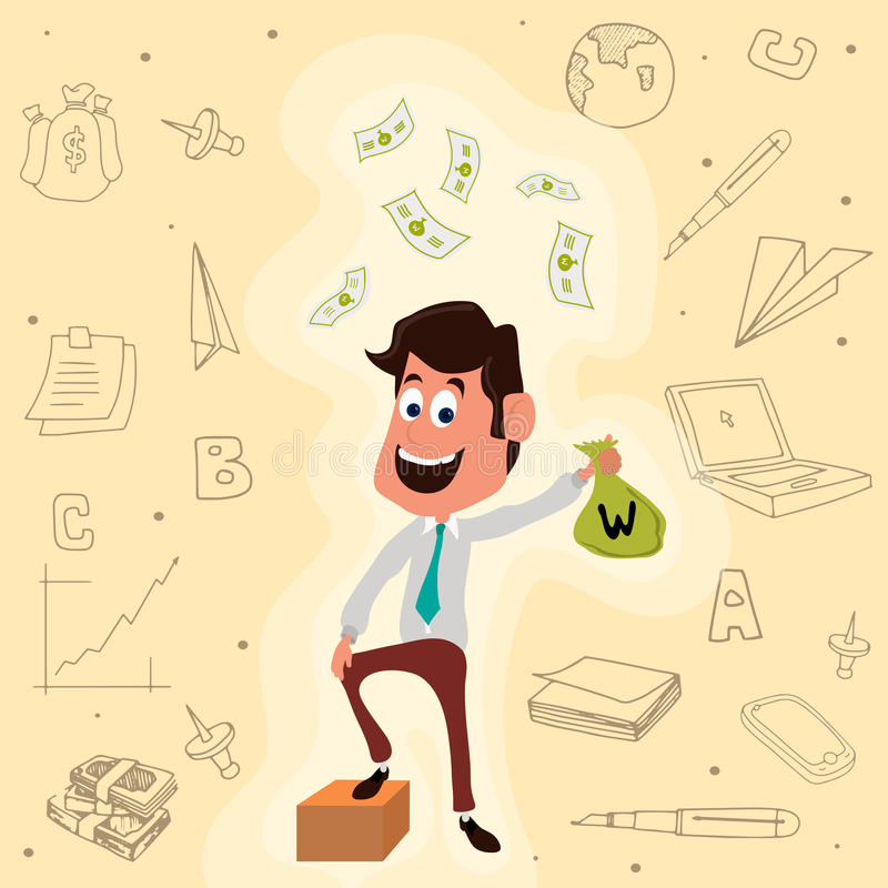 Businessman with money bag and elements. Young smiling Businessman holding money bag on creative infographic elements background for Business concept vector illustration