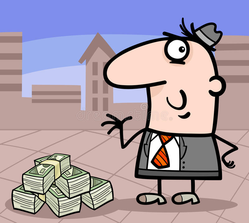 Businessman with money cartoon illustration vector illustration