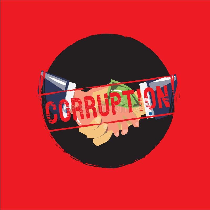 Businessman with money handshaking. corruption concept - stock illustration