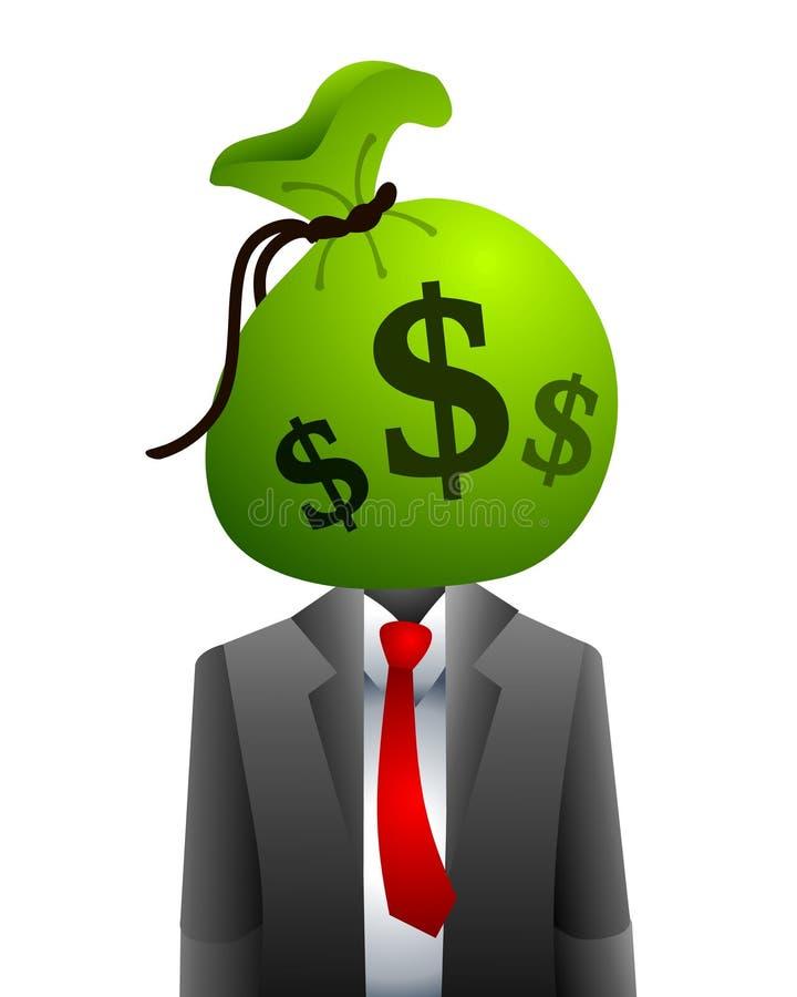 Businessman Money Head stock illustration