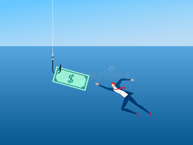 Businessman and money on hook as bait capitalism. Money trap concept. vector illustration
