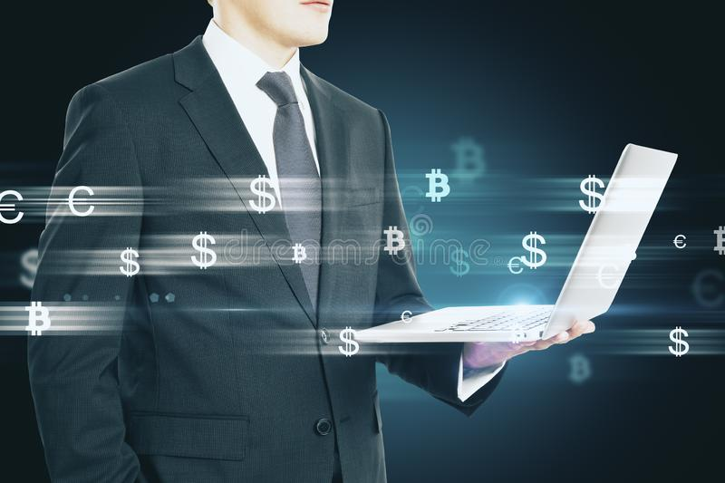 Businessman with money signs royalty free stock photo