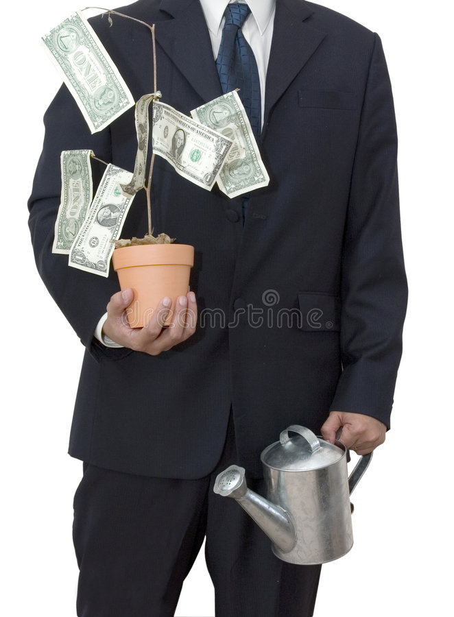 Businessman with money tree. Isolated businessman with his money tree and watering can stock photo