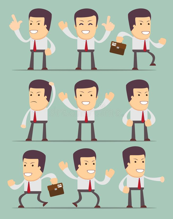 Businessman in motion on background. Collection royalty free illustration